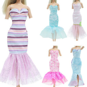 5x Mermaid Lace Tail Elegant Dress Party Gown Clothes for 11.5 inch Doll Toy