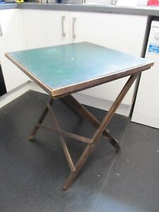 Antique? Vintage Edwardian Wooden Card Games Folding Table 68cms tall 62cms sq
