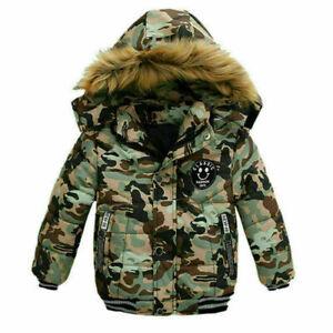 Kids Coat Winter Thick Jacket Outwear Hooded Jacket Boys Girls School Padded Fur