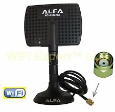 Genuine Alfa Panel Antenna 2.4gHz or 4G with Magnetic Base RP-SMA extension cabl