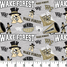 Wake Forest Demon Deacons Cotton Fabric w Mascots on Heather Ground-By the Yard