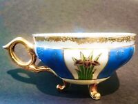 UNMARKED ORPHAN TEA CUP - GOLD - TURQOISE BLUE - 3 LEGS - IRRIDECENT