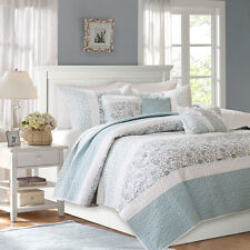 CHIC BLUE LACE 6pc Full Queen COVERLET SET : QUILT FRENCH COTTAGE SHABBY PAISLEY