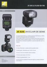 feuillet technique flash NIKON SB-700  édit. 2008. en français