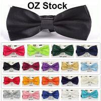 Mens Silk Satin plain Tuxedo Solid Bow Tie Formal Wedding  Bowtie Necktie ties