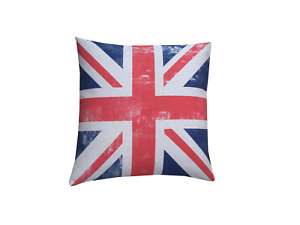 Handmade union Jack digital Print British flag linen look fabric cushion cover