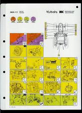 Kubota MS6-111 Tractor Original Factory Laminated Maintenance Chart Fluids