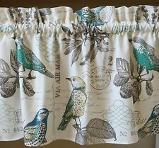 1 bird old postcard window valance curtain cotton duck spring vintage looking