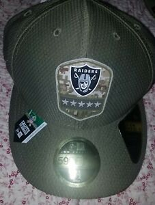 New Era 59FIFTY 2019 7 1/2 NFL RAIDERS Armed Forces Fitted Hat Cap Camo