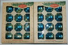 "2 Bx Vintage Shiny Brite Blue Ombre Glass Christmas Ball Ornaments 2 1/2"" dia."