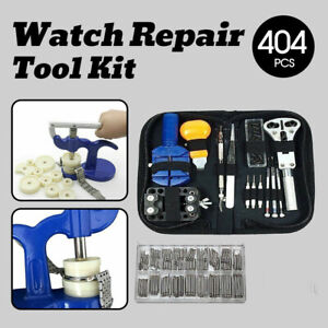 404Pcs WATCH REPAIR KIT Back Case Pin Link Spring Strap Remover Opener Tool Set