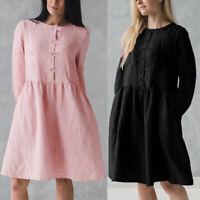 Womens Long Sleeve A-Line Mini Dress Pleated Cotton Party Tunic Shirt Dress Plus