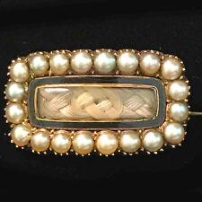 Georgian high carat Gold Natural Pearl & Black Enamel Hair mourning brooch C1823