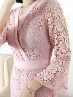 NEW Ted Baker NELLO Multi lace V neck tunic dress Baby Pink 0-4