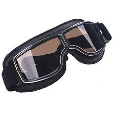 Leather Eyewear Aviator Pilot Glasses Retro Helmet Racing Motorcycle Goggles