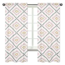 Window Treatment Panel Curtain For Sweet Jojo Pink Grey Gold Aztec Bedding Sets
