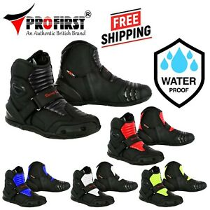 Men Motorcycle Leather Boots Waterproof Motorbike Short Ankle Shoes Size Armour