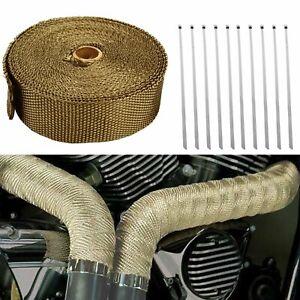 "Titanium 2"" 50FT Exhaust Header Heat Wrap Trap Motorcycle Fiberglass +10 Ties"