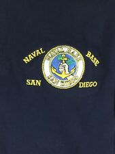 Naval Base San Diego Men's Size Large Blue Embroidered Polo Rugby Shirt. HH