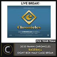 2020 PANINI CHRONICLES BASEBALL 8 BOX (HALF CASE) BREAK #A978 - PICK YOUR TEAM