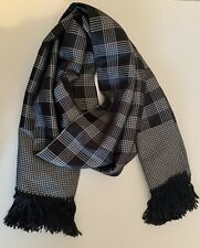 Tom Ford Fringed Silk Scarf Black & Silver Check & Houndstooth