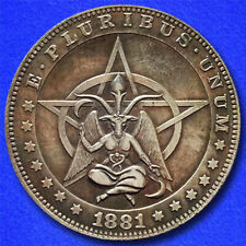"Pentagram Baphomet ""Hobo Nickel"" on Morgan Dollar Coin **"