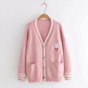 Girl Kawaii Rabbit Knit Cardigan Sweater JK Uniform Japanese Mori Knitwear Sweet