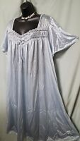 "COMFORT CHOICE GREY W/TRIM NYLON CALF LENGTH NIGHTGOWN  Sz LARGE GIFT 52"" BUST"