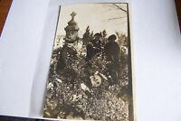 Rare Antique Vintage RPPC Real Photo Postcard Ladies In Garden Bench Cross