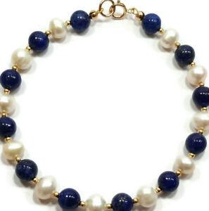 9ct Gold Blue Lapis Lazuli & White Pearl Bracelet, Beaded Gemstones, 7.5inch
