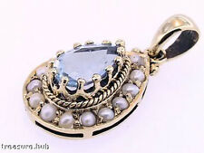 CP261 GORGEOUS Genuine 9ct Gold Natural Topaz & Seed Pearl Drop Tear Pendant