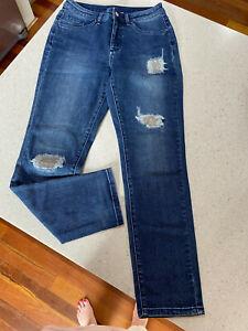 Joseph Ribkoff Stretch Blue Denim Embellished Patch Jeans AU 10 NWT $265 211975