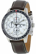 Seiko Men's SSC013 Solar Flight Chronograph Brown Leather Watch New