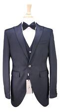 NWT New * CORNELIANI * Black Textured Peak Lapel 1-Btn Morning 3-Pc Suit 38R