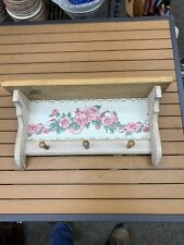 CHARMING Vintage WHITE Wooden Shabby Chic Cottage WALL DISPLAY SHELF!