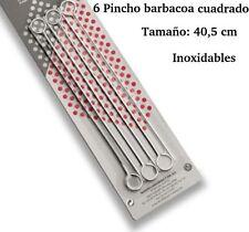 6 PINCHOS PARA BARBACOA DE LACOR 40,5 CM ACERO INOXIDABLE.BROCHETA PINCHO MORUNO