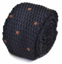 Knitted Skinny Navy Blue & Brown Spot Mens Tie by Frederick Thomas FT1187