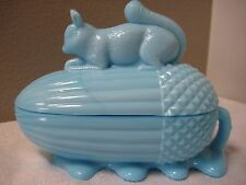 Blue milk glass covered animal dish squirrel on acorn- Vallerystall  Portieux