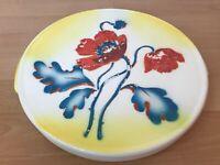 Tolle Spritzdekor Tortenplatte aus Keramik mit Blumen Art Deco Bauhaus 30er 40er