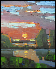 HAWKINS Original Thick Paint Colorful Impressionism Folk Art Oil Painting Signed