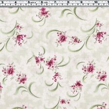 Burgundy FLORAL on pale green & cream Fabric - FQ