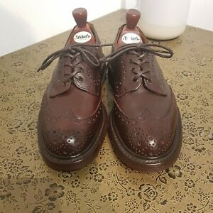 Trickers Mens Burgundy Zug Grain Ilkley Derby Brogue Shoes Commando Sole UK 7