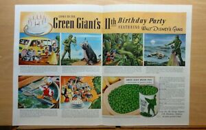 1941 double page magazine ad for Green Giant - Walt Disney characters celebrate