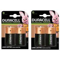 4 x Duracell D Size 3000 mAh NiMH Rechargeable Batteries - HR20 LR20 Accu