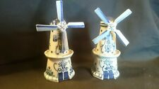 2 x Vintage Delft Blue & White Style Ceramic Windmills, Not Marked - Ornamental