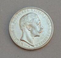 """Silbermünze 3 Mark Silber  Wlhelm II König v. Preussen 1910 """" A"""" VZ ST"""
