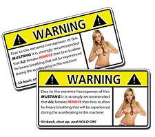Funny MUSTANG No Bra Horsepower Breathing Warning Sticker GT 5.0 Stang Shelby