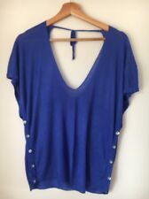 Love Label Size 8 Button Feature Scoop Back Blue Jumper <T12588