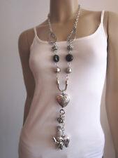 Modekette lang Damen Hals Kette Lagenlook Silber Schwarz Elefant Herz Charms 9