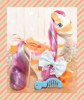 ❤️My Little Pony MLP G1 Vtg Colorswirl Ponies Lovebeam Orange Stripes 1991❤️